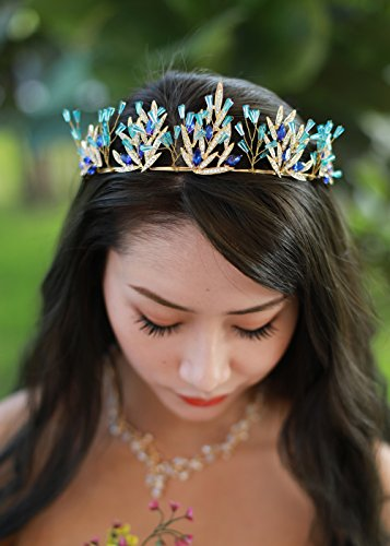 Missgrace Wedding Tiara Crystal Bridal crown for wedding bride Blue Rhinestone Crown Headband Jewelry Accessories Birthday Crown