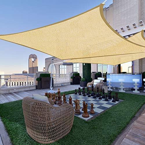2pc 18×18 Square Sun Shade Sail Patio Deck Beach Garden Outdoor Canopy Cover UV Blocking Desert Sand