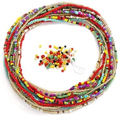 Amazon Com Waist Beads For Weight Loss Stretchy African Waist Beads For Women Plus Size With String And Charms Jewelry