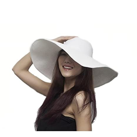 868004f595d Women s Large Wide Brim Floppy Sun Hat Beautiful Solid Color Beach Sun  Visor Shade Straw Hat Cap Summer Beach Hat White