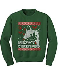 Expression Tees (Color) Meowy Christmas Ugly Christmas Holiday Crewneck Sweatshirt