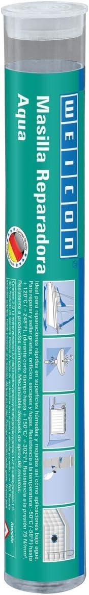 WEICON 10531115-36 Barra reparadora, Aqua, 115g, Pegamento de 2 Componetes, Resina epoxi, reparación en Piscinas, Zonas bajo Agua, Blanco, 115 g