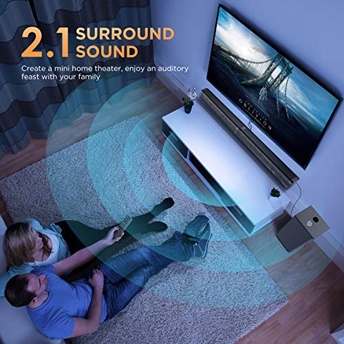 Sound Bar with Subwoofer, Ultra Slim 2.1 CH TV Soundbar, Bomaker 100W, 31 inch Bluetooth 5.0 Speaker, 5 EQ Modes, Works with 4K & HD & Smart TV, LED Display, Outdoor Surround Sound