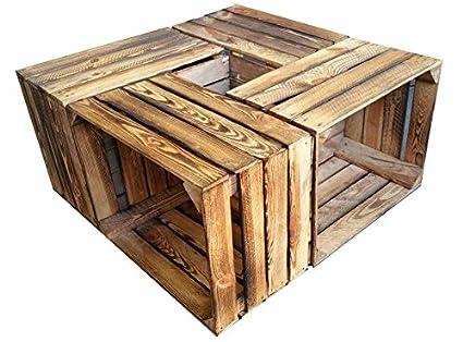 Set di 4 cassette multiuso in legno, effetto bruciato, stile shabby chic,  utilizzabili per costruire mobili