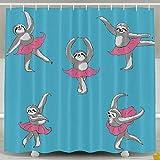 Fashion Shower&bath Curtain Sloth Dance Ballet No Chemical Odor 6072inch
