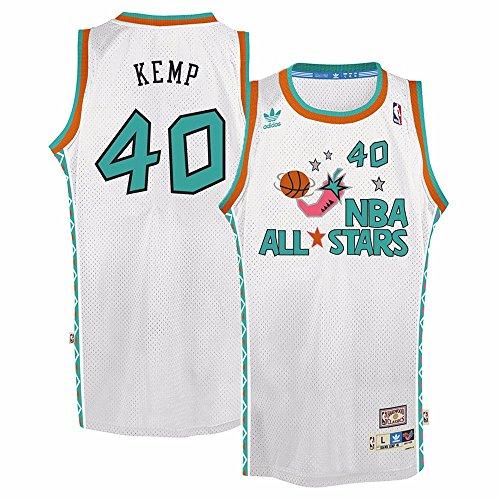 adidas Shawn Kemp West All Stars NBA White 1995-96 Soul Swingman Throwback Jersey for Men (S)
