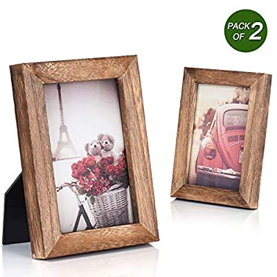 Emfogo 4x6 Picture Frame Photo Display for Tabletop Display Wall Mount Solid Wood High Definition Glass Photo Frame Pack of 2 Carbonized Black - EXQUISITE FRAME: Made of solid Paulownia wood, finished with the burnished black accents,high definition glass and smooth boarding at the back, the exquisite picture frame has been carefully designed by the designer to protect and decorate your beautiful pictures FUNCTIONAL FRAME : Displaying good memories vividly in front of your eyes, it is not only an exquisite decoration in your home, coffee shop, art gallery, but a great gift for your family and friends EASY MOUNTING: Comes with easy opening tabs at the back for easy access for loading photos. The frame can be put for table top display vertically or horizontally, and hung on the wall by wall hanger at back, screw in the package - picture-frames, bedroom-decor, bedroom - 51DlIQvxikL. SS400  -
