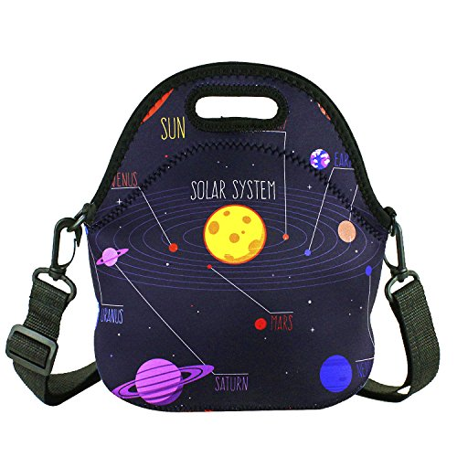 (Violet Mist Insulated Neoprene Lunch Bag Tote with Detachable Adjustable Shoulder Thermal Waterproof Cartoon Large Capacity Outdoor Picnic Lunch Box for Kids Teens Adults (Space))