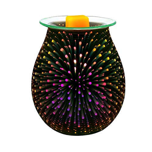 Electric Oil Warmer COOSA 3D Effect Starburst Fireworks Glass Wax Tart Burner Fragrance Candle Warmer Incense Oil Night Light Aroma Decorative Lamp for Gifts, Decor for Home Office