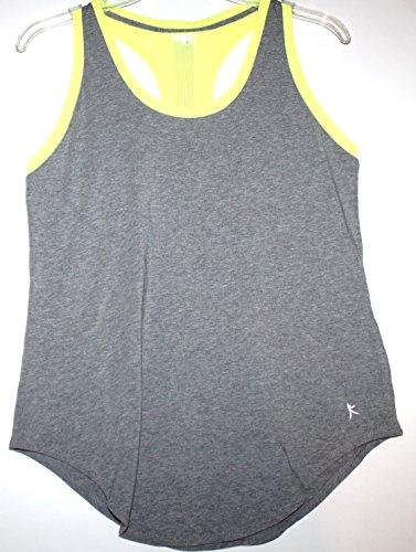Danskin Now Women's Loose Fit T Back 2-Fer Tank (S 4-6, Heather Gray/Neon Yellow)