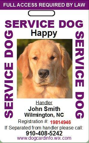 Custom Service Dog ID Card (Purple)