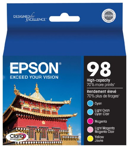 Epson Claria T098920 98 Extra High-capacity Inkjet Cartridge Color Multipack-Cyan/Light Cyan/Magenta/Light - Ink 99 Light