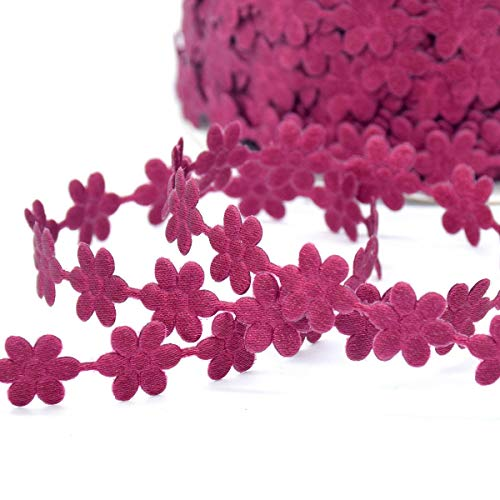 2Yards Mixed Colors Flower Stars Butterfly Lace Trim Craft Sewing Embellish DIY (Design - 04 Dark Pink Flower - Tadpoles Coverlet