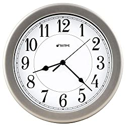 JUSTIME 8.5 inch Brushed Metal Water Resistant Wall Clock, Special for Small Space, Office, Boats, RV (W86006 Brushed Chrome)
