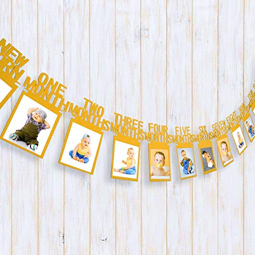 Sakolla Baby 1st Birthday Photo Banner,Newborn 1-12 Months