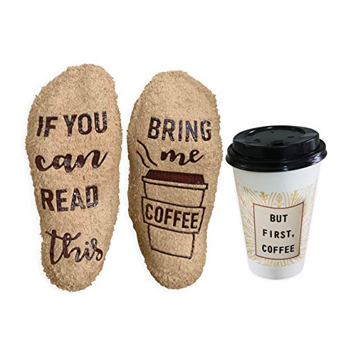 If You Can Read This Bring Me Coffee Socks - Accessories Gifts Birthday Anniversary for Women Her Wife - Gag Gift White Elephant Bachelorette Funny Novelty Under 20 Ideas - Mocha (The Best White Elephant Gift Ideas)