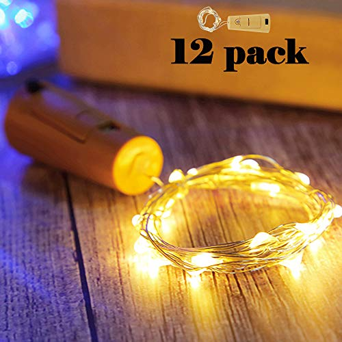 Nurluce Wine Bottle Cork Lights, 12 Pack Battery Operated Wine Bottle Lights with Cork LED Bottle Stopper String Lights, LED Cork Shape Christmas Wedding Fathers Day Decor Lights (WarmWhite) ()