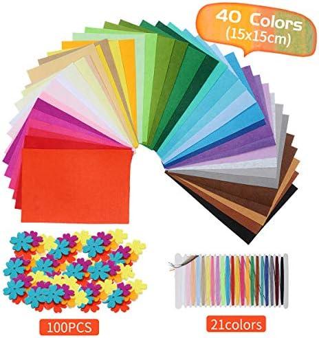 Felt Fabric Sheet 40Pcs Craft Felt Assorted Colors21Pcs Color Line and 100Pcs Craft Felt Shapes Crafts Felt Sheets Patchwork Sewing DIY Craft (40PCS 15X15CM)