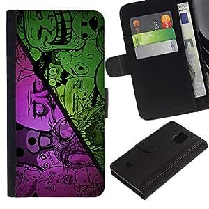 KingStore / Leather Etui en cuir / Samsung Galaxy S5 Mini, SM-G800 / Divertido Internet Meme Troll Cara triste No ¿Por qué oso