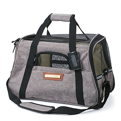 Pet Travel Carrier Bag, Soft Sided and Airline Approved Pet Bags with Fleece Bed, Perfect for Small Dogs and Cats (grey)