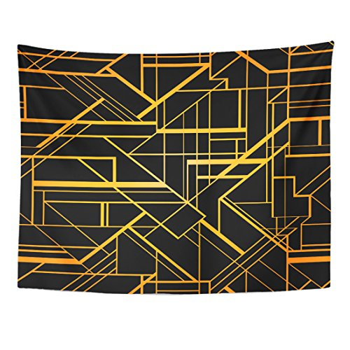 Emvency Tapestry Orange Abstract Geometric Pattern 1920 Diamond Gold Gradient Angular Home Decor Wall Hanging for Living Room Bedroom Dorm 60x80 Inches