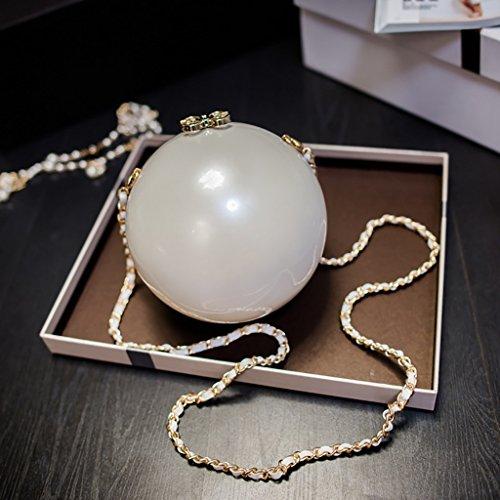 Bolsas Bolsas Blanco de para Bolsas Women's para Mujer Redondas Grandes Bolsos Bolas Perlas Bolsas de Cadena Pequeño bags Bolsas diagonales Cena de Tamaño qw1fTI