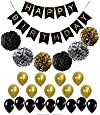 BLACK and GOLD PARTY DECORATIONS Perfect Adult Birthday Decorations |Happy Birthday Banner Black,Gold Balloons and Paper Pom Poms Party Supplies for Birthday Decoration