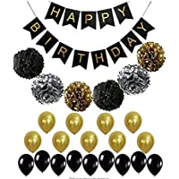 BLACK and GOLD PARTY DECORATIONS Perfect Adult Birthday Decorations |Happy Birthday Banner Black,Gold Balloons and Paper…