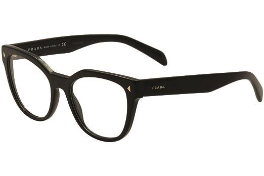 prada pr21sv eyeglass frames 1ab1o1 53 black pr21sv 1ab1o1 53 - Womens Frames
