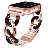 V-MORO Cowboy Chain Band Compatible with Apple Watch Band 38mm 40mm Series 4/3/2/1 Women with Rose Gold Stainless Steel Metal Buckle iWatch Replacement Resin Wristband Strap (Rose Gold+Tortoise 38/40)