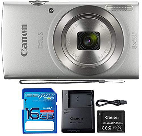 Canon IXUS 185 / ELPH 180 Digital Camera (Silver) with 16 Gb Memory Card …
