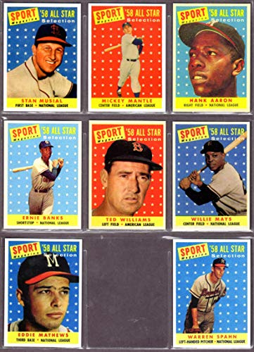 (8) Card Reprint Lot including Stan Musial, Mickey Mantle, Hank Aaron, Ernie Banks, Ted Williams, Willie Mays, Eddie Mathews, Warren Spahn ()