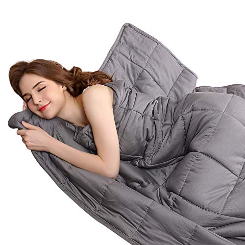 - BUZIO Weighted Blanket 20 lbs for Adults (210-240 lbs), Heavy Blanket with Oeko-TEX Standard Cool Cotton and Premium Glass Beads, Same Size as Queen Size Bed (92 x 106 Inches, Grey)