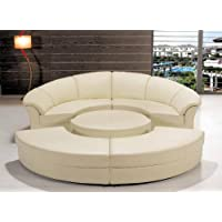 Modern Circle Sectional Sofa Set with Table - Off White / Ivory