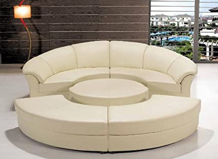 Modern Circle Sectional Sofa Set With Table   Off White / Ivory