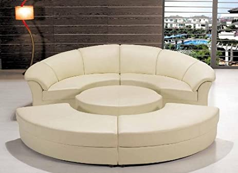 modern circle sectional sofa set with table off white ivory