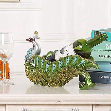 Estantería de vino Vino soporte de exhibición, creativo clásico del estante del pavo real vino artesanías de resina Adecuado for sala de estar casera de vino del gabinete Modelo Decoración del aula es