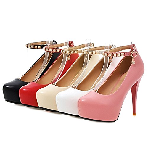 SJJH Court Shoes with Stiletto and Thick Platform with 5-Colors and Large Size 1-9.5 UK for Wedding Party Women Dressy Shoes Black D4yV5zfaL