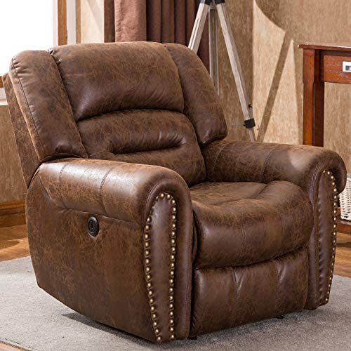 CANMOV Electric Recliner Chair, Breathable Bonded Leather Classic Home Theater Single Sofa Recliner Seating with USB Port, Nut Brown
