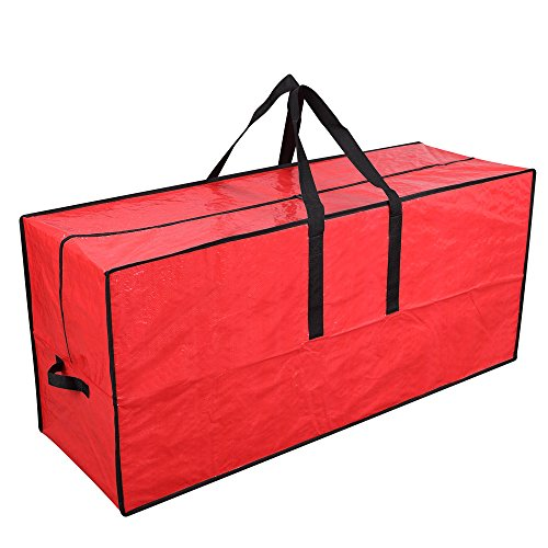 Primode Artificial Xmas Tree Storage Bag with Handles | 45 x 15 x 20 Holiday Tree Storage Case | Protective Zippered Xmas Tree Bag (Red)