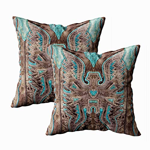 Capsceoll 2PCS turquoise western leather look Decorative Throw Pillow Case 18X18Inch,Home Decoration Pillowcase Zippered Pillow Covers Cushion Cover with Words for Book Lover Worm Sofa Couch (Pillows And Brown Turquoise)