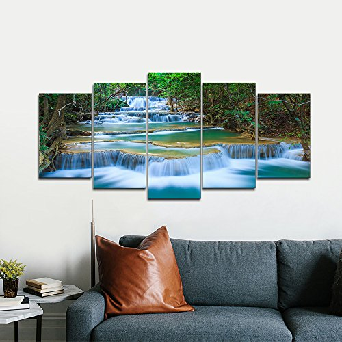 Peafaul Wall Art Print Poster Wall Art: Wieco Art Peaceful Waterfall Modern 5 Piece Stretched And
