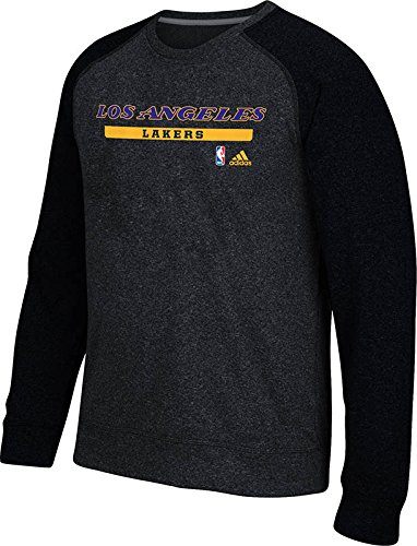 Adidas La Lakers Sweatshirt - NBA Los Angeles Lakers Men's Cut & Paste Climawarm Ultimate Crew Sweatshirt, X-Large, Black