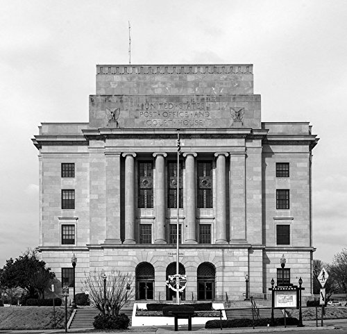 24 x 36 B&W Giclee Print of The federal courthouse and post office in Texarkana. Like the city, this building is half in Texas (to the left in this photo) and half in Arkansas 2014 Highsmith 50a