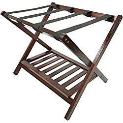 Deluxe Folding Wooden Luggage Rack with Shoe Shelf, Walnut Finish, Hotel Style