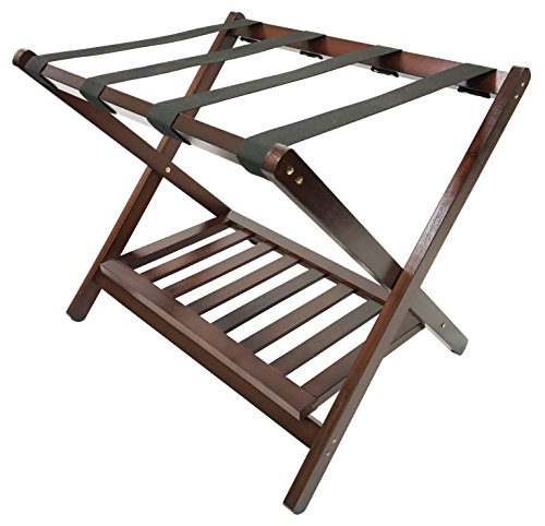 Best Review Of Deluxe Folding Wooden Luggage Rack with Shoe Shelf, Walnut Finish, Hotel Style