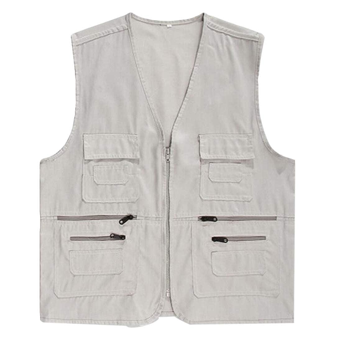 Alion Mens Sleeveless Outdoor Multi-Pockets Work Fishing Hiking Rugged Vest