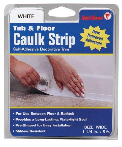 Red Devil 0170 Caulk strip Tub & Wall Wide White 1 1/4-inch by 5-feet - Floor Trim