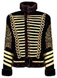 Ro Rox Men's Black and Gold Hussar Steampunk Parade Jacket Faux Fur (XXX-Large)