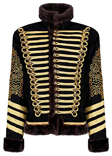 Ro Rox Men's Hussar Steampunk Parade Jacket Faux Fur (Black and Gold, Men's 2XL) -